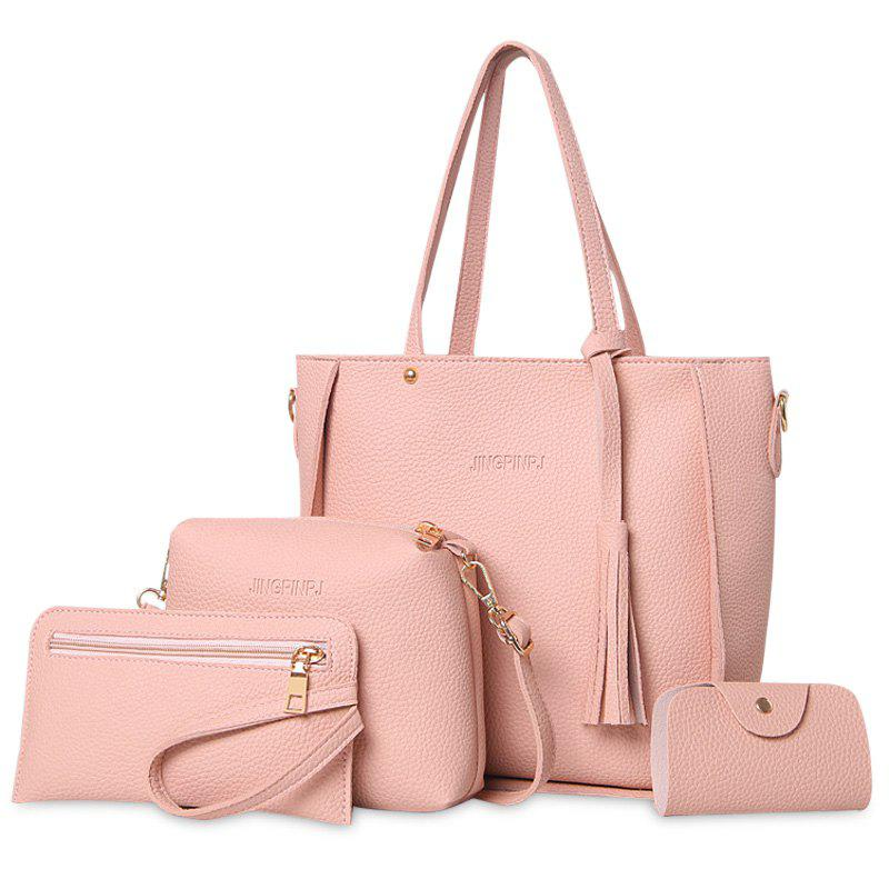 Faux Leather Tassel Tote Bag Set - PINK