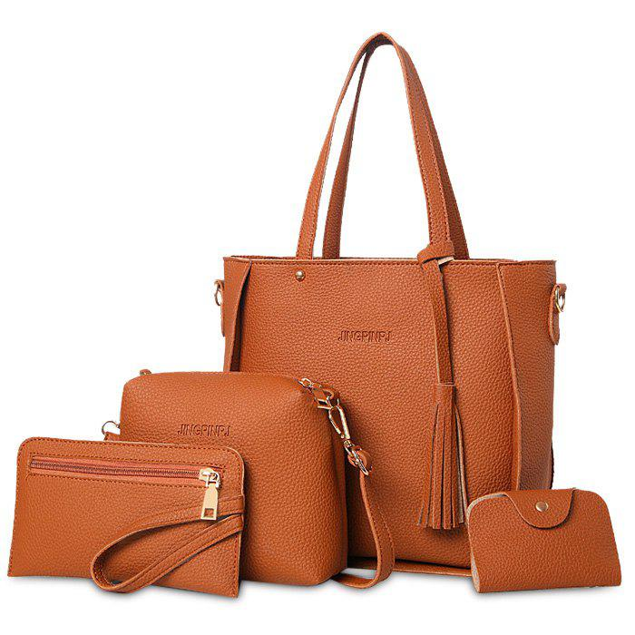 Faux Leather Tassel Tote Bag Set - Brun
