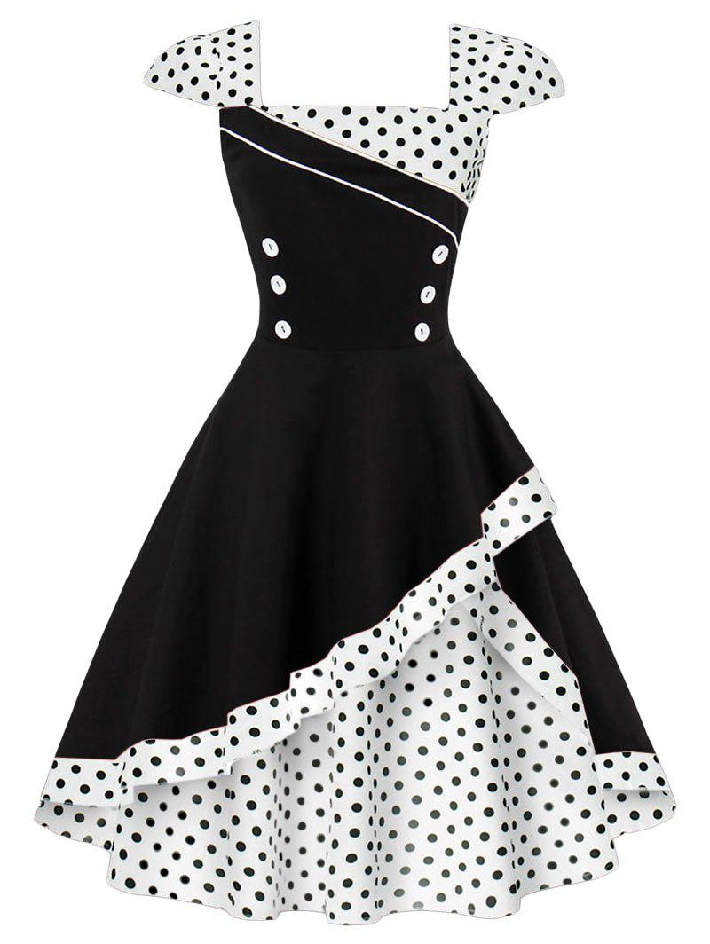 Buttoned Polka Dot Vintage Corset Dress - WHITE S