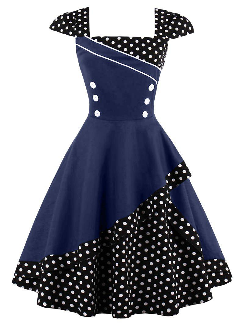 Buttoned Polka Dot Vintage Corset Dress - PURPLISH BLUE L