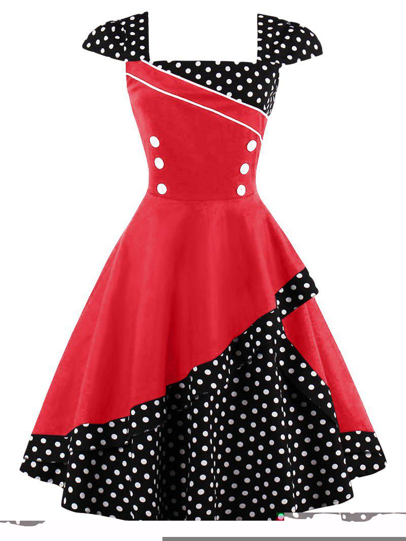 Buttoned Polka Dot Vintage Dress - RED XL