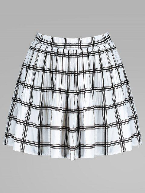 Elastic Waist Plaid Pleated Skirt - WHITE L
