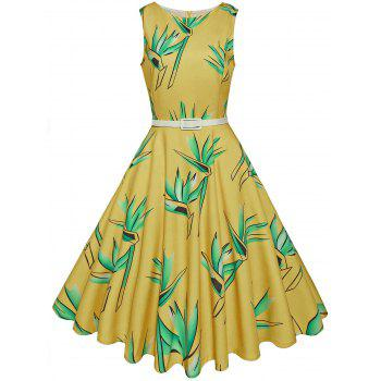 Vintage High Waist Belted Printed Dress