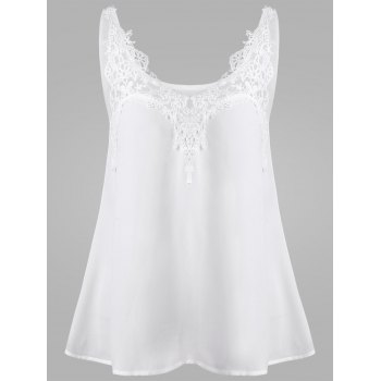 Lace Crochet Panel Dressy Tank Top