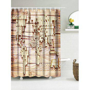 Wood Map Letter Waterproof Fabric Shower Curtain