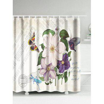 Flower Butterfly Mantis Water Resistant Shower Curtain