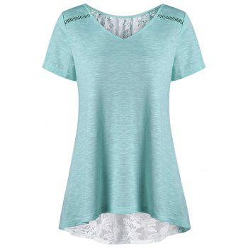 Plus Size High Low Hem Lace Insert T-Shirt