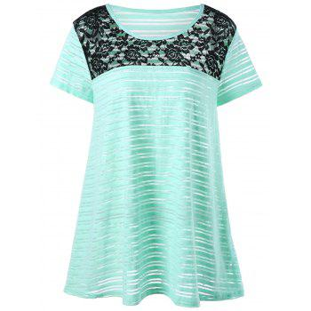 Plus Size Lace Insert Striped T-Shirt