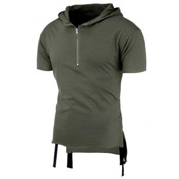 Hooded High-Low Half Zip T-Shirt