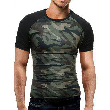 Crew Neck Raglan Sleeve Camo T-Shirt - GREEN GREEN