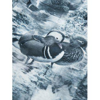 Short Sleeve Mandarin Duck Print Tee - XL XL