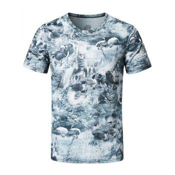 Short Sleeve Mandarin Duck Print Tee - STONE BLUE XL