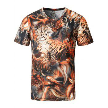 Short Sleeve Animals Print Tee - ORANGE XL