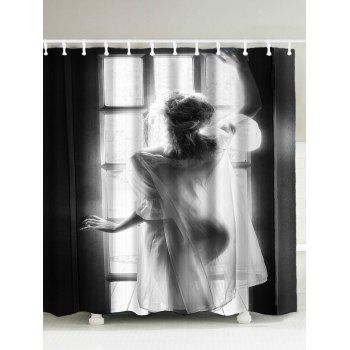 Women Window Pattern Waterproof Shower Curtain