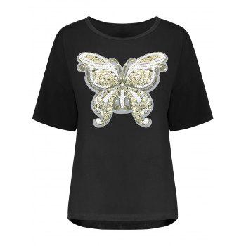 Plus Size Sequin Butterfly Tee