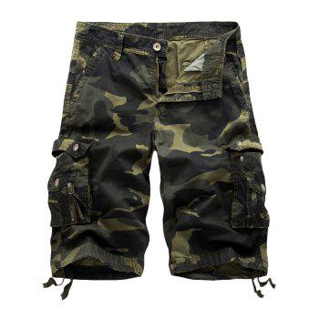 Flap Pockets Camo Cargo Shorts