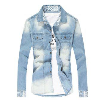 Pointed Collar Faded Denim Shirt