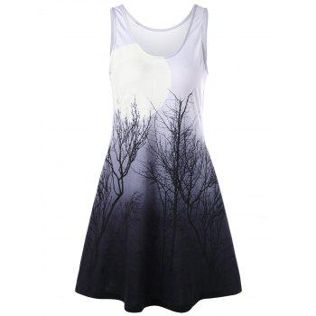 Tree Night Scene Printed Mini Tank Dress