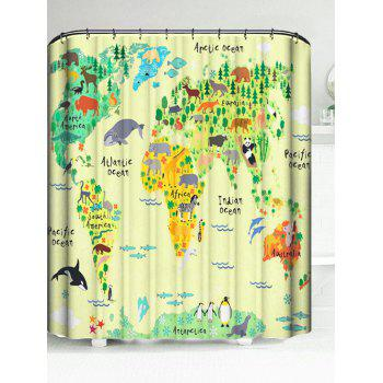 Fun Map Waterproof Polyester Bath Curtain
