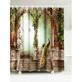 Peacock Water Resistant Fabric Bathroom Shower Curtain