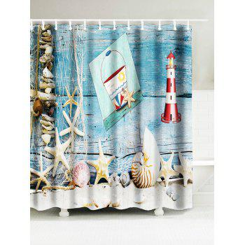 Starfish Shell Lighthouse Water Resistant Shower Curtain