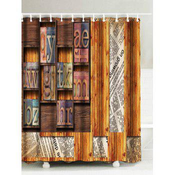 Wood Grid Water Resistant Polyester Shower Curtain