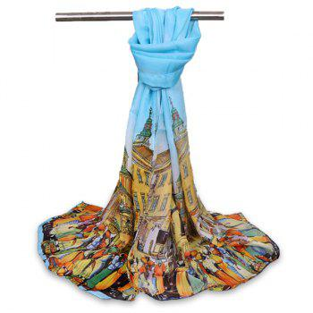 Gossamer Chiffon Cartoon City Life Shawl Scarf