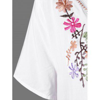 Plus Size Flower Embroidery T Shirt Dress - WHITE XL
