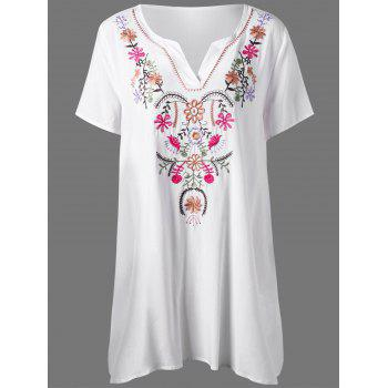 Plus Size Flower Embroidery T Shirt Dress - WHITE WHITE