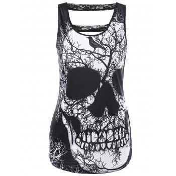 Lace Trim Cut Out Skull Tank Top