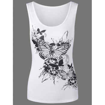Scoop Neck Butterfly Print Tank Top