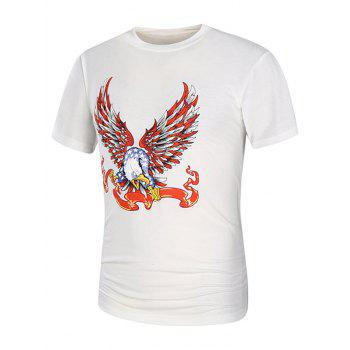Short Sleeve Cartoon Eagle Graphic Print T-Shirt