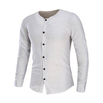 Collarless Cotton Linen Long Sleeve Shirt