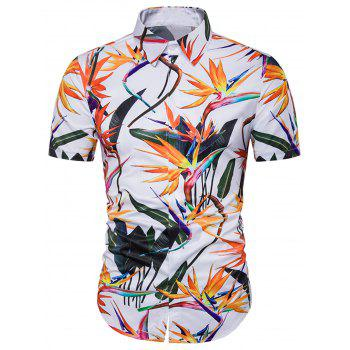 Cover Placket 3D Colorful Floral Print Hawaiian Shirt