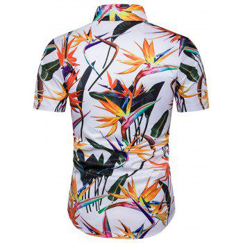 Cover Placket 3D Colorful Floral Print Hawaiian Shirt - COLORMIX 3XL