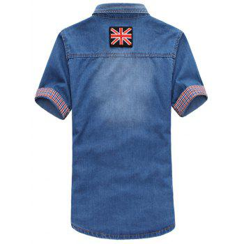 Short Sleeve Flag Patch Denim Shirt - MEDIUM BLUE 2XL