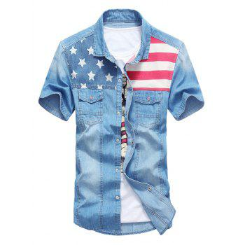 Flag Patch Star Print Denim Shirt