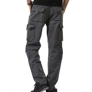 Straight Leg Multi Pockets Cargo Pants - GRAY 33