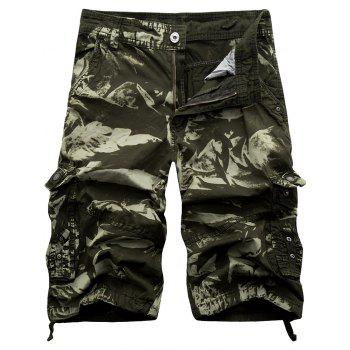 Zip Fly Cargo Shorts with Button Pockets - ARMY GREEN 32