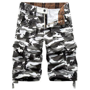 Zip Fly Camouflage Cargo Shorts