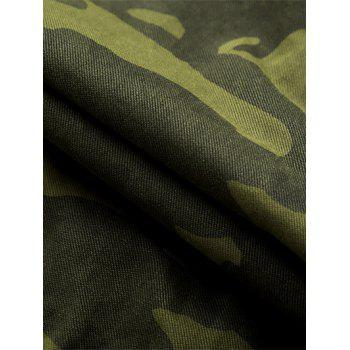 Zip Fly Camouflage Cargo Shorts - ARMY GREEN 34