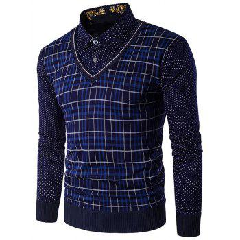Polka Dot Panel Plaid T Shirt