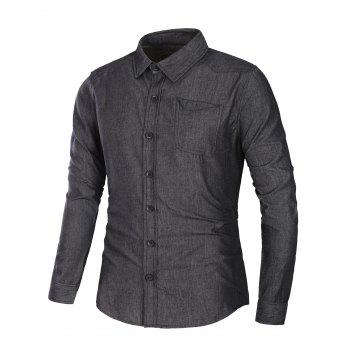 Long Sleeve Pocket Jean Shirt