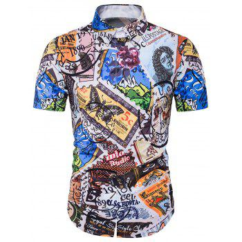 3D Stamp Printed Cover Placket Shirt - COLORMIX XL