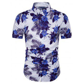Cover Placket Floral Print Hawaiian Shirt
