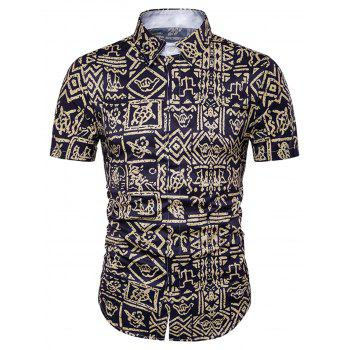 Cover Placket Tribal Print Hawaiian Shirt