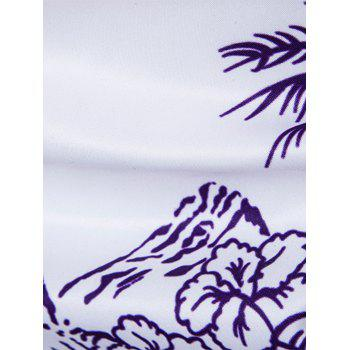 Cover Placket Trees and Dolphins Print Hawaiian Shirt - COLORMIX M