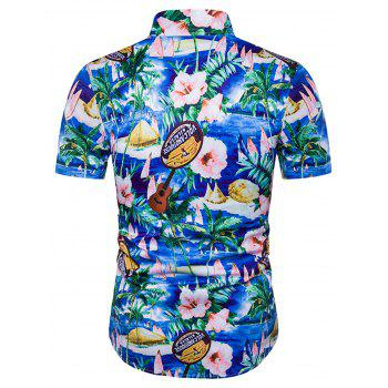 Cover Placket Floral and Guitar Print Hawaiian Shirt - COLORMIX COLORMIX