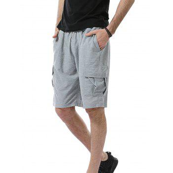 Pockets Drawstring Cargo Sweat Shorts - LIGHT GRAY LIGHT GRAY