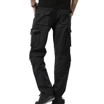 Straight Leg Multi Pockets Cargo Pants - BLACK BLACK